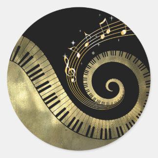 Pegatinas de oro de las llaves del piano y de las pegatina redonda