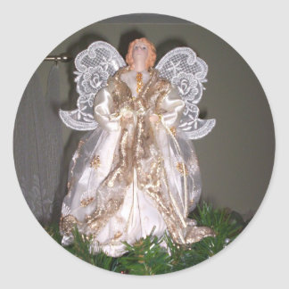 Pegatinas de oro del ángel pegatina redonda