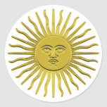 Pegatinas de oro del resplandor solar pegatina redonda