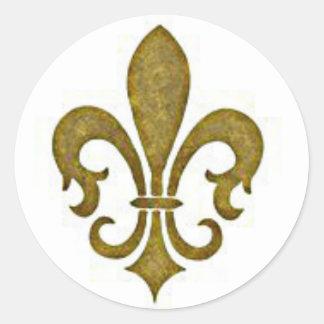 Pegatinas de oro franceses de la flor de la flor pegatina redonda