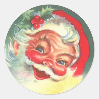 pegatinas de Papá Noel del vintage de los años 40 Etiquetas Redondas