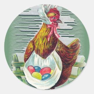 Pegatinas de Pascua de la gallina y de los huevos Etiqueta Redonda
