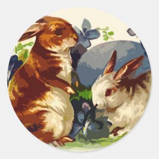 Pegatinas de Pascua de los conejitos Pegatina Redonda