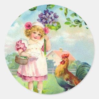 Pegatinas de Pascua del vintage Etiquetas Redondas