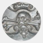 Pegatinas de piedra de mármol negros del cráneo y etiqueta redonda
