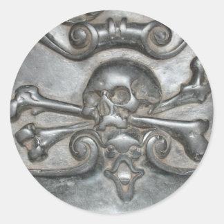 Pegatinas de piedra de mármol negros del cráneo y pegatina redonda