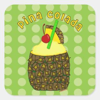 Pegatinas de Pina Colada del arte de la bebida Pegatina Cuadrada