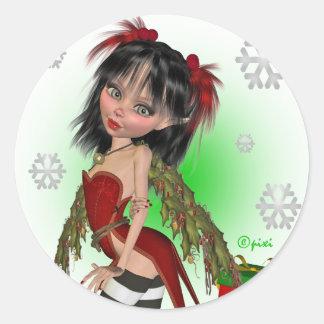 Pegatinas de Pixi del acebo del navidad Pegatina Redonda