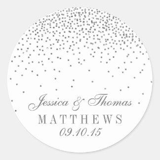 Pegatinas de plata atractivos del boda del confeti pegatina redonda