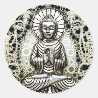 Pegatinas de plata de Buda Pegatina Redonda