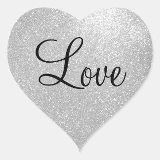 Pegatinas de plata de la forma del corazón del pegatina en forma de corazón