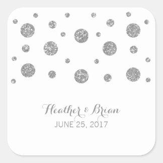 Pegatinas de plata del boda del confeti del brillo pegatina cuadrada