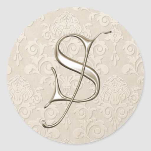 Pegatinas de plata del boda del monograma - letra pegatina redonda