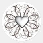 Pegatinas de plata del corazón etiquetas redondas
