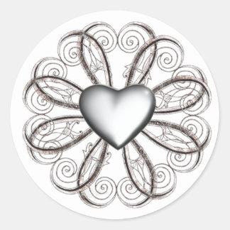 Pegatinas de plata del corazón pegatina redonda