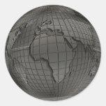 Pegatinas de plata del globo del mundo etiquetas redondas