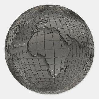 Pegatinas de plata del globo del mundo pegatina redonda