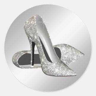 Pegatinas de plata del zapato del tacón alto etiqueta redonda