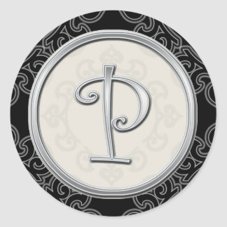 Pegatinas de plata elegantes del monograma:: Sello Pegatina Redonda