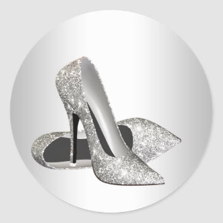 Pegatinas de plata elegantes del zapato del tacón pegatina redonda