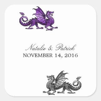 Pegatinas de plata púrpuras del boda del dragón calcomania cuadradas