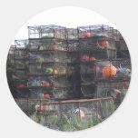 Pegatinas de potes de cangrejo de Alaska Etiquetas Redondas