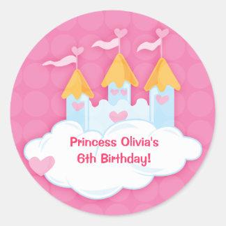 Pegatinas de princesa Castle Custom Birthday Favor Pegatina Redonda