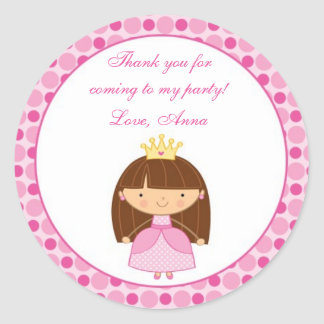 Pegatinas de princesa Thank You Tags Personalised Etiqueta Redonda
