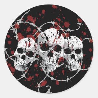 Pegatinas de púas de los cráneos pegatina redonda