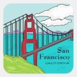 Pegatinas de puente Golden Gate de San Francisco Pegatina Cuadrada