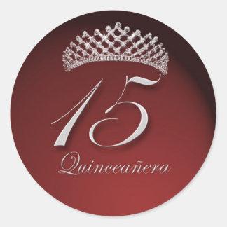 Pegatinas de Quinceanera con la tiara Pegatina Redonda
