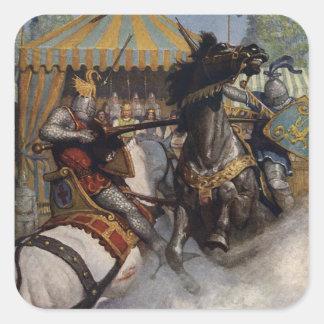 Pegatinas de rey Arturo Series 6 del vintage Pegatina Cuadrada