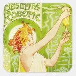 Pegatinas de Robette del ajenjo de Alfonso Mucha Calcomania Cuadradas Personalizada