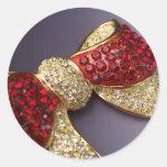 Pegatinas de rubíes del arco del diamante pegatina redonda
