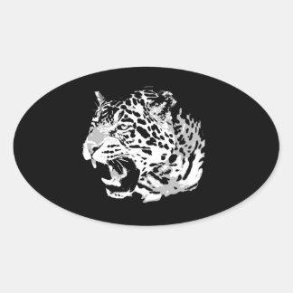 Pegatinas de rugido del óvalo de Jaguar Pegatina Ovalada