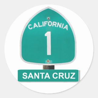 Pegatinas de Santa Cruz de la carretera 1 de Pegatina Redonda