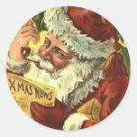 Pegatinas de Santa del Viejo Mundo del vintage del Pegatinas Redondas