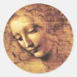 Pegatinas de Scapigliata del La de da Vinci Pegatina Redonda