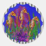 Pegatinas de Seaquarium de los caballos de mar Etiquetas Redondas