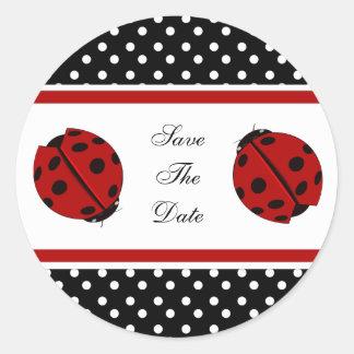 Pegatinas de señora Bug Save The Date Pegatina Redonda