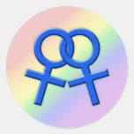 Pegatinas de sexo femenino azules conectados 01 de pegatina redonda