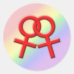Pegatinas de sexo femenino rojos conectados 01 de pegatinas redondas