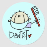 Pegatinas de sexo masculino del dentista pegatina redonda