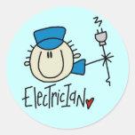 Pegatinas de sexo masculino del electricista etiqueta redonda