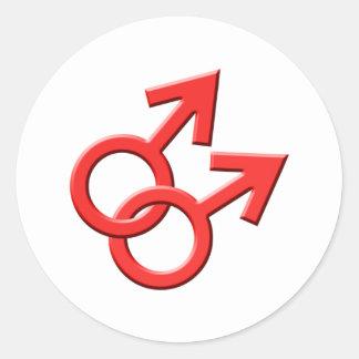 Pegatinas de sexo masculino rojos conectados 03 de pegatina redonda