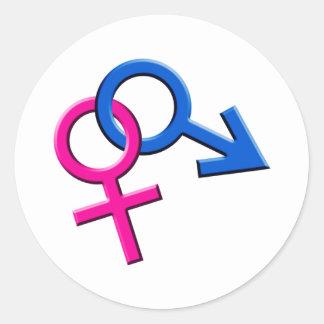 Pegatinas de sexo masculino y de sexo femenino pegatina redonda