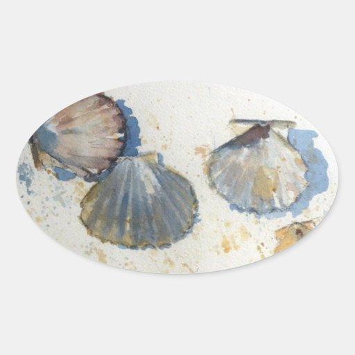 Pegatinas de Shell del mar de la playa Calcomania De Oval