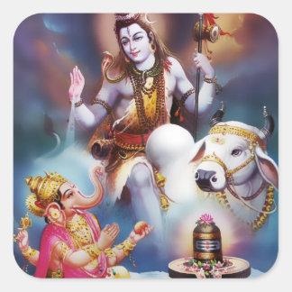 Pegatinas de Shiva y de Ganesha Calcomanías Cuadradass