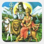 Pegatinas de Shiva y de Parvati Pegatina Cuadrada