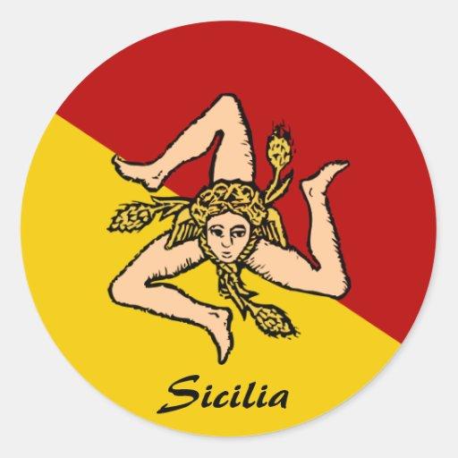Pegatinas de Sicilia Pegatina Redonda